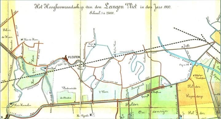 Kaartje van de waterwegen in het Hoogheemraadschap van de Langen Vliet in 1900.