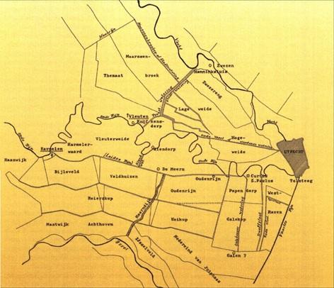 'Kaartje van de ontginningsgebieden met hun afwateringskanalen. Hier dwars doorheen kronkelt de Oude Rijn. Het kaartje geeft de situatie weer tot ca. 1400. Het laatste stuk van de Leidse Rijn is nog niet gegraven. Er loopt een kanaaltje. de Oude Rijn geheten (nu het water langs de Biltonkade in Lombok), naar de Vleutense Wetering.